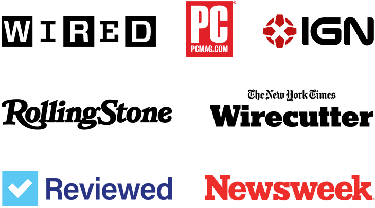 Logos for press outlets, including New York Times, CNN, and Wired
