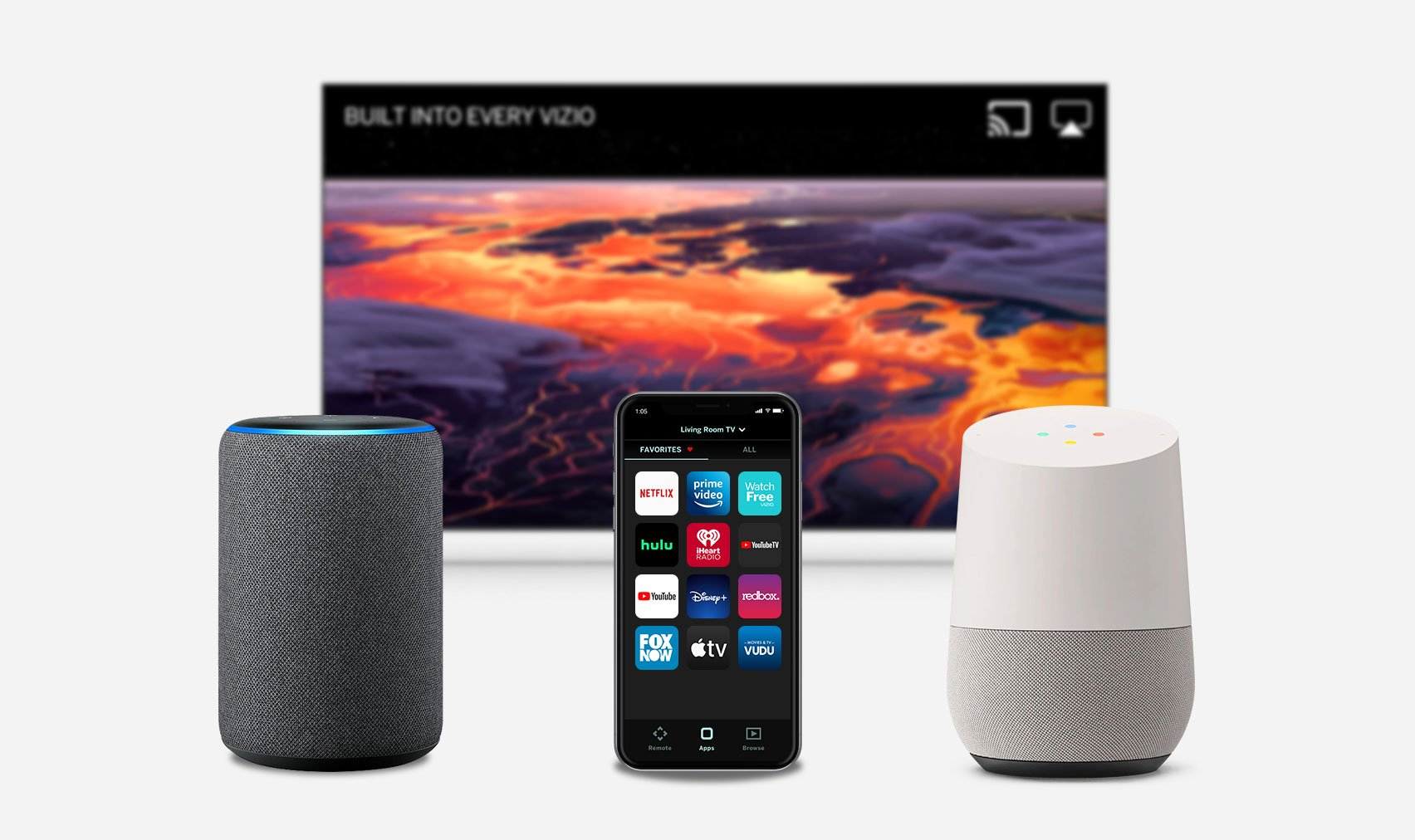Alexa, Google Home, and Apple Homekit for voice control and smart home integration.